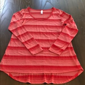 Cute Pink& Red Striped LulaRoe Long Sleeve Top Sm